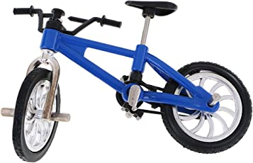 Segolike Stylish Finger Mountain Bike Miniature Metal Bicycle Model Creative Game for Children Kids Gift - blue