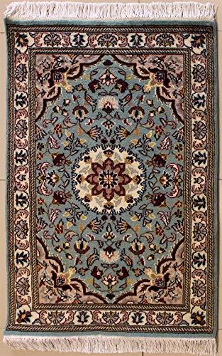 Rugstc 76 x 124 tappeto persiano pak alta qualità con pila in lana - fantasia floral | annodato a mano in blu verdastro, bianco & beige, rettangolare 76 x 122 di alta qualità a doppio nodo