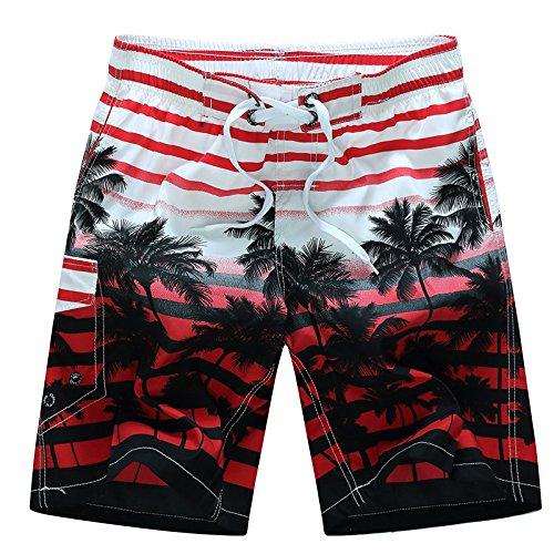 HOOM-Nouveau pantalon de plage d'été occasionnels Shorts hommes Camo coton taille lâche cinq pantalons shorts Red d