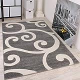 Designer Teppich Muster in Grau Weiss Top Qualität zum Top