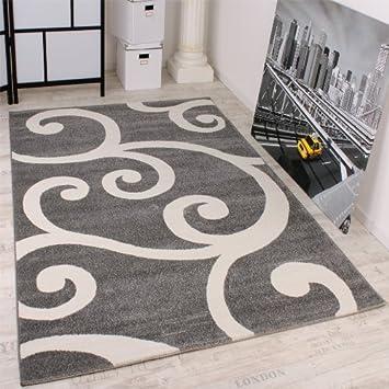 Teppich grau muster  Designer Teppich Muster in Grau Weiss Top Qualität zum Top Preis ...