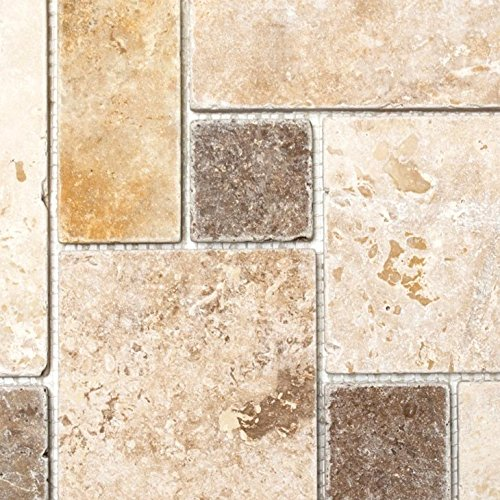Mosaik Fliese Travertin Naturstein Beige Braun Mini Pattern Travertin Für  BODEN WAND BAD WC DUSCHE K