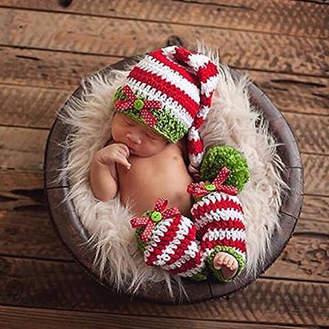 YiZYiF Weihnachten Baby Neugeborene handgemachte Kleidung Baby Fotografie Requisiten (Rot