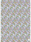 Rachel Ellen Girl Unicorn Rainbow Papier Blatt x 4