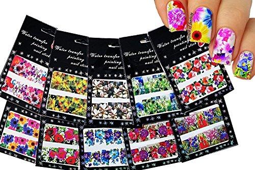 ongles autocollants art toboggan de tatouage, couverture complète, de grandes fleurs, paquet de 10 / CVI / // Nail Art Water Slide Tattoo Decals ♥ Full-Cover ♥ Large Flowers, pack of 10 ♥ /CVI/