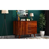 Woodstage Solid Sheesham Wood Chest of Drawer Storage Cabinet with 3 Drawer and 1 Door for Office Hall Living Room Home…