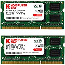 Komputerbay Placas de Memoria 8GB (2x 4GB) DDR3 SODIMM (204 pines) 1066Mhz PC3 8500 8 GB