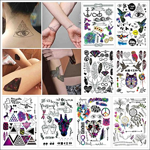 COKOHAPPY 8 Blätter Traumfänger , Bunte Tier , Diamant Over 100+ Tattoos Look Echt Flash Flash Temporäre Tattoo (Value Set) (Temporäre Bunte Tattoos)