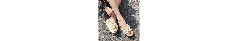 SCLOTHS Chanclas Mujer Verano Pendiente perlas artificiales exterior inferior grueso antideslizante Amarillo 6... -