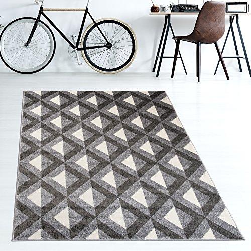 Traditionelle Ovale Teppich (TAPISO Teppiche Geometrische Muster Viereck Karo kurzflor Teppich Meliert Wohnzimmer Schlafzimmer Farbe Creme Grau 200 x 290 cm)