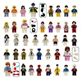 Minifigures Set of 40+7 Includes Building Bricks Community People from Different Industries Complete with Tools Lego-Compatible