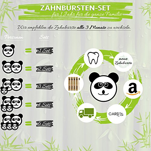 4er-Pack Holzzahnbürste aus nachhaltigem Bambus-Holz ♻ BPA-freie Bambus Holzzahnbürste, plastikfrei verpackte Bambus-Zahnbürste ♻ Zahnbürste mit Bambus-Holzkohle für gesunde und weiße Zähne - 6