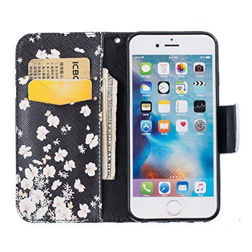 Ooboom® iPhone 5SE Coque PU Cuir Flip Housse Étui Cover Case Wallet Portefeuille Supporter avec Carte de Crédit Fentes Titulaire de Trésorerie pour iPhone 5SE - Os Blanc Fleur
