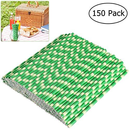 OUNONA 150pcs Pajitas de Papel Pajitas bambú decoración biodegradabl