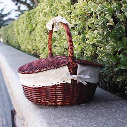 GWDZX Weide Rattan Garten Picknickkorb Eierkorb Geschenkkörbe Obstkörbe Einkaufskorb Multi-Color,B-38*28cm