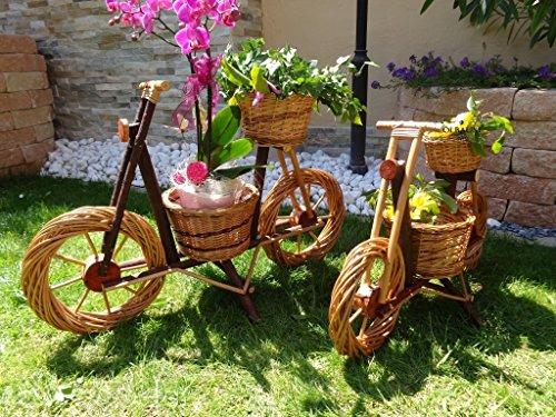 floristikvergleich.de Fahrrad, Motorrad, Rad, Bike 55 x 38 cm, aus hochwertigem Korbmaterial, Korbgeflecht, Rattan, Weidenkörbe, Weidenkorb, Pflanzkorb, Blumentöpfe, Holzschubkarre, Pflanztrog, Pflanzgefäß, Pflanzschale, Blumentopf, Pflanzkasten, Übertopf, Übertöpfe, Pflanztrog, Pflanztopf mit Holz – Deko Holz, XL viele Farben Natur hell Pflanzgefäß, Pflanztöpfe Pflanzkübel