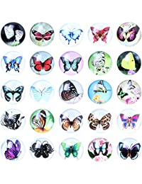 Soleebee Mixed Random Butterflies Glass Aluminum Snap Buttons Jewelry Charms (Pack of 10)