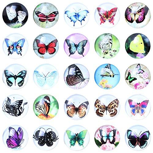 Soleebee Casuale misto Alluminio Vetro farfalla Snap Charms Bottoni monili 10 pezzi