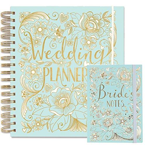 Rachel Ellen  Set organiser con grande agenda con scritta 'Wedding Planner' e notes in coordinato per la sposa, perfetto regalo di fidanzamento, verdazzurro chiaro