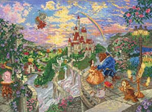 Mcg Textiles Beauty and The Beast Disney Dreams Collection by Thomas Kinkade Counted Cross Stitch Kit, Multi-Color
