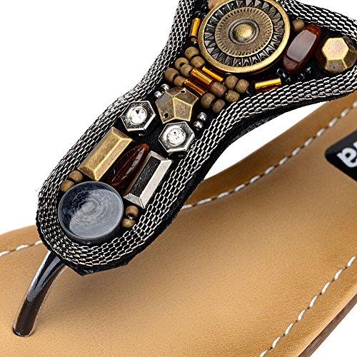Odema Femme Ete Sandales Boheme Antique Coin Main-perles Clip Orteil Talon Plat Noir