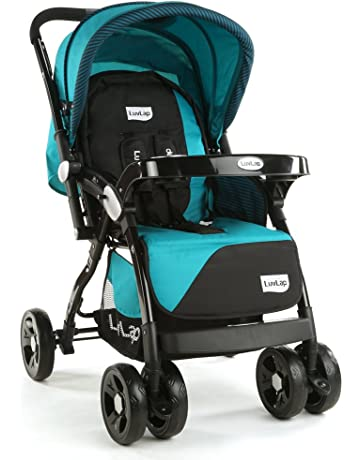 LuvLap Galaxy Stroller/Pram, Extra Large Seating Space, Easy Fold, for Newborn Baby/Kids, 0-3 Years (Blue/Black)