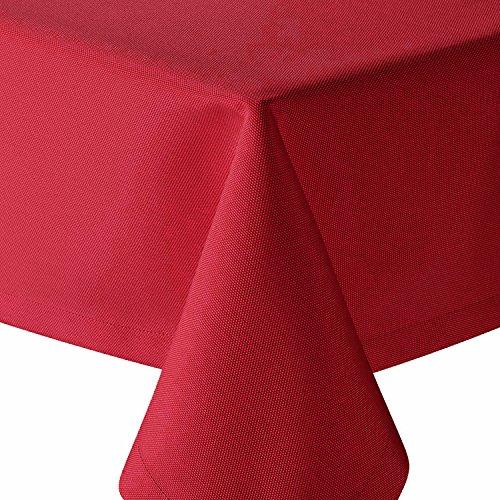 Tischdecke Brilliant Leinenoptik Eckig 130x260 cm Rot - mit Fleckschutz - (Br_E130x260Rot)