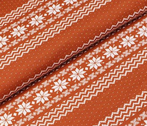 Norweger Jacquard Jersey Bio-Stoff Baumwolle kba GOTs Winter Weihnachten Schnee (Nepal)