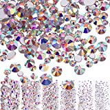 3456 Pieces Nail Crystals AB Nail Art Rhinestones Round Beads Flatback Glass Charms Gems Stones, 6 Sizes for Nails Decoration Makeup Clothes Shoes (Crystal AB, Mixed SS4 5 6 8 10 12)