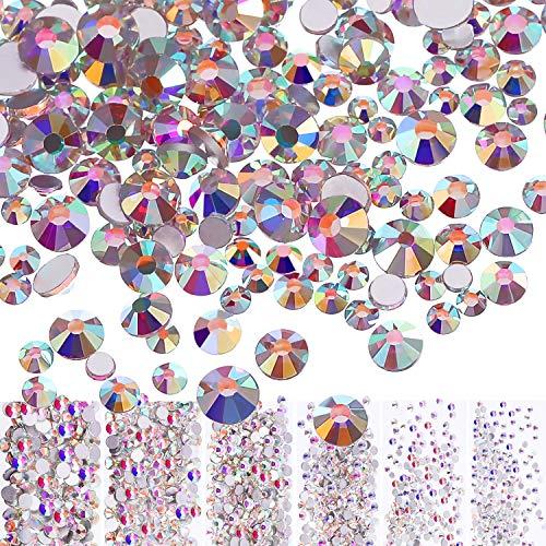 3456 Pièces Nail Cristaux AB Nail Art Strass Perles Rondes Mixte Charms en Verre à Fond Plat Pierres Précieuses, 6 Tailles pour Décoration des Ongles