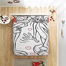 Original Juego de Funda de Edredón, diseño de Bugs Bunny y Lola Amor Blanco, Para Cama Doble, 100% algodón, 4 Piezas (funda de edredón + sábana ajustable + 2 funda almohada)