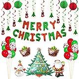 Christmas Decoration Set Home, Merry Christmas Dekoration Banner Christmas Party Supplies mit Christmas Santa Claus Schneemann Hängende wirbelt Weihnachten Ballon Dekorationen (merry christmas)