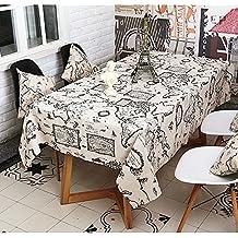 Nappe en tissu de lin en coton, RUVALINO Modèle de carte du monde Couvertures de table Pour le repas, le mariage, Thanksgiving, fête de Noël, Lavable en machine (50x70'')