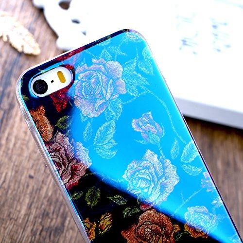 Coque iPhone 5S, Étui iPhone SE, iPhone 5S/iPhone SE Case, ikasus® iPhone 5S/iPhone SE Coque Housse [Blue Ray Glitter] Modèle Fleur Couleur peinte Doux TPU Silicone Étui Housse Téléphone Couverture TP Une rose #2