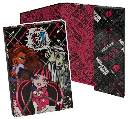 Unbekannt Ordner für A4 Monster High - für Hefte Ringbuch Kinder Mädchen pink Gothik Puppen Mappe Ordnungsmappe Hefter Heftbox A 4 (Kinder Monster High)