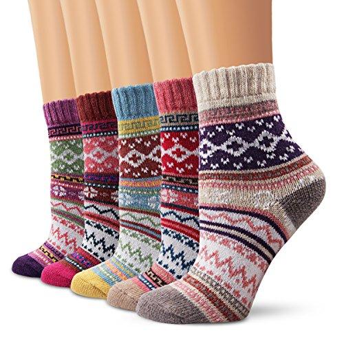 """❤ Moliker bietet Ihnen eine Vielfalt an Socken, in den verschiedenen Varianten. Wenn Sie ein Paar bequemen, weichen Socken benötigen, können Sie sicher Passende bei uns finden! ❤ Maß Tabelle: [Set / 5Pairs] / (Winter-Socken-5001)(L: 14cmx20cm / 5,5 """"..."""