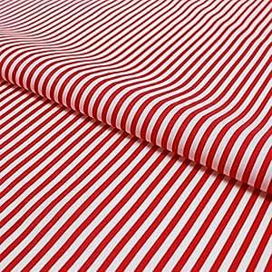Stoff Meterware, Streifen 5 mm, Baumwolle, Streifenmuster, Gestreift, Schadstoffgeprüft, Streifenstoff (Rot)