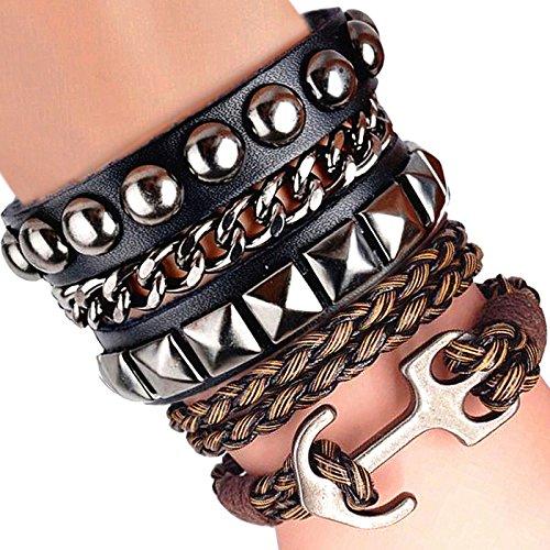 Braccialetto dell' amicizia, regalo nero corde Donne Avvolgere il regalo di natale 6colori, base metal, colore: Yellow, cod. 600 - 3 Pietra Tanzanite Bracciale
