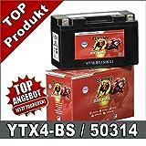 Motorrad Batterie 4Ah YTX4L-BS YB4L-B 50314 AGM...
