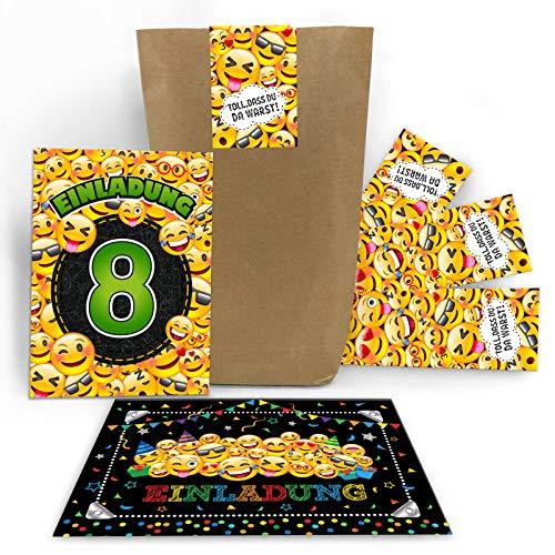 12 Einladungskarten 8. Geburtstag Kinder achte Kindergeburtstag Mädchen Jungen incl. 12 Umschläge, 12 Tüten / Natur, 12 Aufkleber