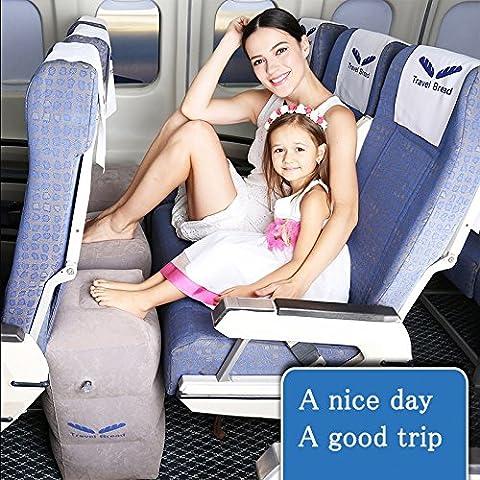 Repose-pieds gonflables pour les voyages,oreillier de voyage pour reposer les jambes, lit pour des enfants en avion (gris)
