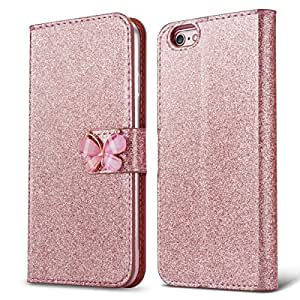 quality design 45898 e7c07 iPhone 5S Case iPhone 5 Wallet Case L-JUWA Luxury Shiny Sparkle Glitter  Bling PU Leather Magnetic Cl
