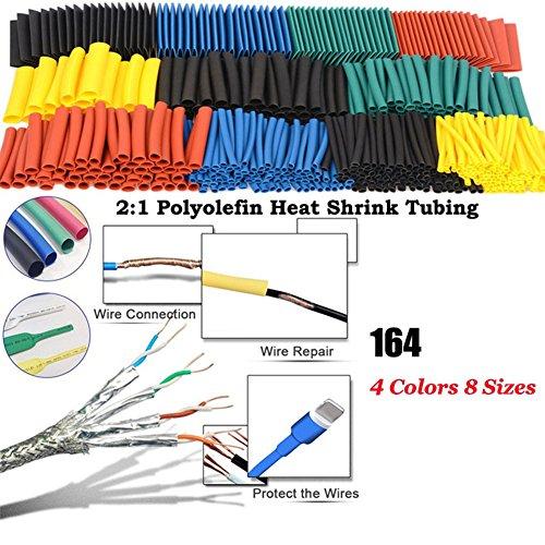 ZREAL 164 Lot de Polyoléfine Diminutions assortis Heat Shrink Tube Fil câble Gaine isolée Tube d'Ensemble de