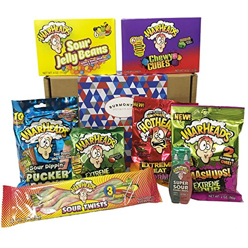 (Warheads Extreme Super Sour American Candy Selection Gift Box - 14 Packs - Hamper Exclusive To Burmont's)