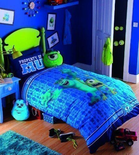 Monster Universität - Einzelbett Kinder Nachtleuchtende Bestickte Bettwäsche Bettbezug Set -