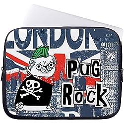"""onemtoss Laptop Móvil Funda, Pug Rock Nylon Cremallera 10–17pulgadas 15"""""""