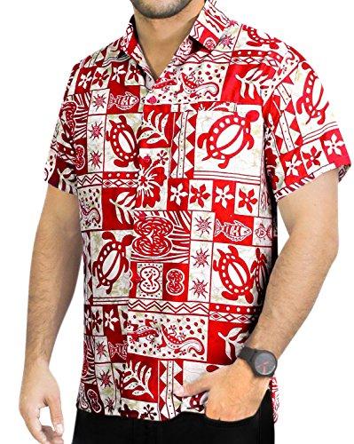 LA-LEELA-Shirt-camisa-hawaiana-Hombre-XS-5XL-Manga-corta-Delante-de-bolsillo-Impresin-hawaiana-casual-Regular-Fit-Camisa-de-Hawaii-Rojo-993-XS