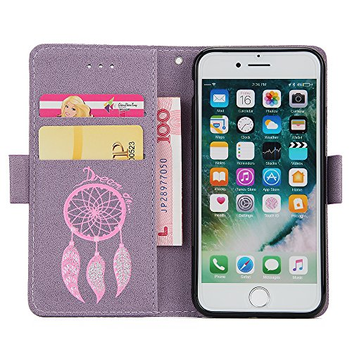 JAWSEU Coque pour iPhone 7,iPhone 7 Portefeuille Coque en Cuir,iPhone 7 Cover Flip Wallet Case Ultra Slim,2017 Neuf Femme Homme Luxury Retro Gold/Oro Butterfly Papillon Motif Leather Pu Folio Etui Hou Violet/Campanule