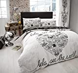 61781X2FmQL. SL160  - BEST BUY #1 New Modern Design Duvet Cover Quilt Cover Bedding Set Single Double King[World Black White,Double] Reviews and price compare uk