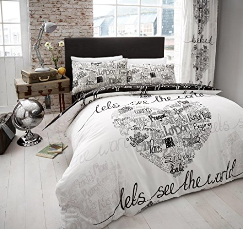 61781X2FmQL - BEST BUY #1 New Modern Design Duvet Cover Quilt Cover Bedding Set Single Double King[World Black White,Double] Reviews and price compare uk